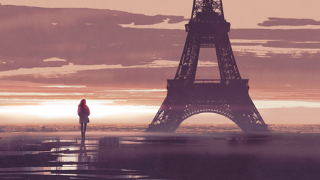 alone in Paris, woman looking at the Eiffel tower at early morning, digital art style, illustration painting Zdjęcie Seryjne - 106414288