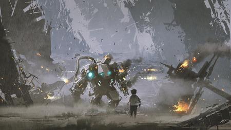 戦争から彼を守った損傷したロボットを見ている少年のシーン、デジタルアートスタイル、イラストレーション絵画