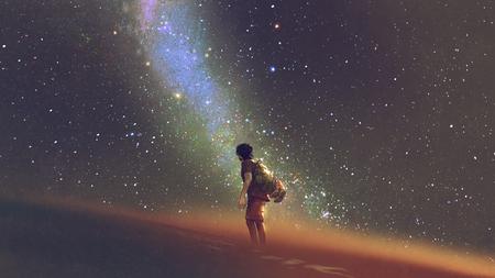 Jeune homme debout sur le désert et regardant dans le ciel nocturne avec des étoiles et de la voie lactée, style art numérique, peinture d'illustration
