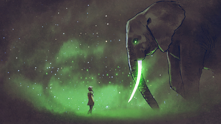 young woman facing the giant elephant with glowing green tusks, digital art style, illustration painting
