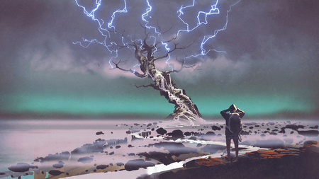 hiker looking at lightning above the giant tree, digital art style, illustration painting