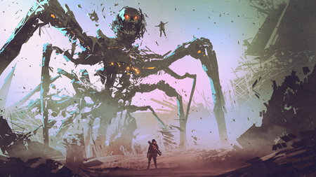 der Mann gegenüber dem Riesenspinnenroboter, digitaler Kunststil, Illustrationsmalerei Standard-Bild