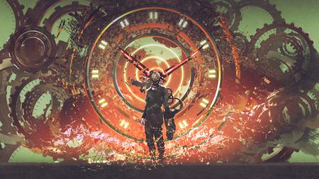 cyborg człowiek stojący na zębatkach koła zębate elementy steampunk tło, cyfrowy styl sztuki, malarstwo ilustracyjne
