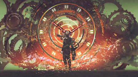 cyborg man standing on cogs gears wheels steampunk elements backgound, digital art style, illustration painting
