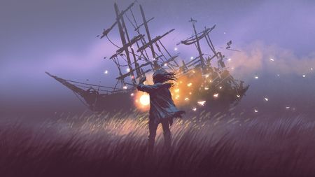 night scenery of a man with magic lantern standing in field looking at shipwreck, digital art style, illustration painting Stock Photo