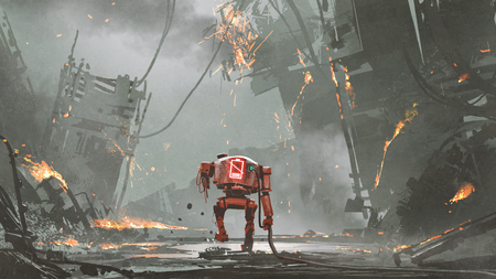 broken robot with low-battery walking in ruined city, digital art style, illustration painting