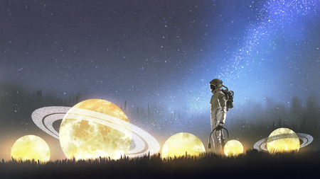 astronaut looking at stars on the grass, digital art style, illustration painting