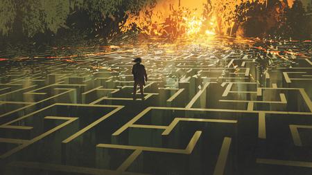 koncepcja zniszczonego labiryntu przedstawiająca mężczyznę stojącego w spalonej krainie labiryntu, cyfrowy styl artystyczny, malarstwo ilustracyjne