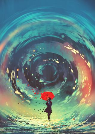 Mädchen mit rotem Regenschirm macht ein wirbelndes Wasser am Himmel, digitaler Kunststil, Illustrationsmalerei