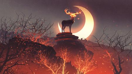 el ciervo con sus cuernos de fuego de pie sobre las rocas en un incendio forestal, estilo de arte digital, pintura de ilustración Foto de archivo