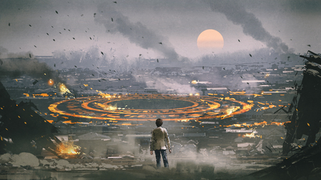 post apocalypse scene showing the man standing in ruined city and looking at mysterious circle on the ground, digital art style, illustration painting Zdjęcie Seryjne - 111005919