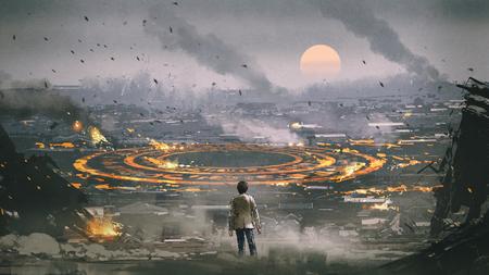 scène post-apocalypse montrant l'homme debout dans une ville en ruine et regardant un cercle mystérieux au sol, style art numérique, peinture d'illustration Banque d'images
