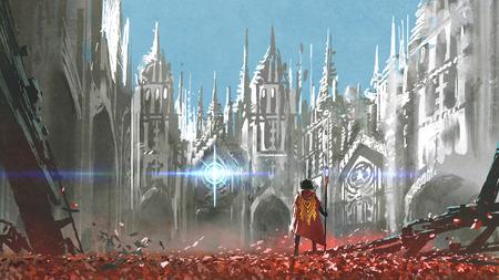el caballero mirando la luz misteriosa en edificios góticos, estilo de arte digital, pintura de ilustración