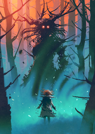 little girl and the witch looking each other in a forest, digital art style, illustration painting Фото со стока