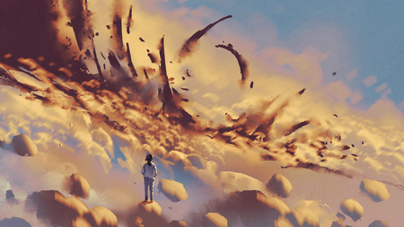 surreal scenery showing the girl looking at mysterious things on clouds, digital art style, illustration painting Stock Photo