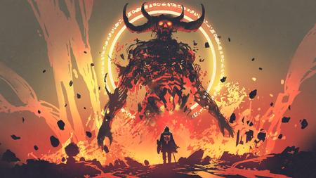 caballero con una espada frente al demonio de lava en el infierno, estilo de arte digital, pintura de ilustración Foto de archivo