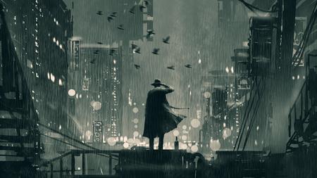 concetto di film noir che mostra il detective che tiene una pistola alla testa e in piedi sul tetto durante la notte piovosa, stile arte digitale, pittura illustrativa Archivio Fotografico