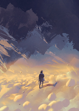 scenery of surreal world showing a man walking on clouds looking at upside-down mountains, digital art style, illustration painting Stock Photo