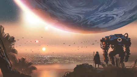 journey concept showing a man with robot looking at a new colony in the alien planet, digital art style, illustration painting Banco de Imagens - 111392193
