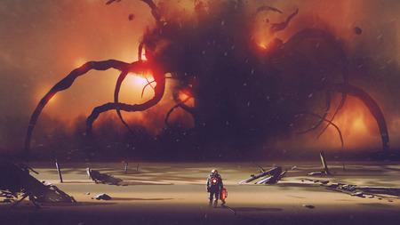 astronaute avec un appareil technologique se dirigeant vers le monstre géant à l'horizon, style art numérique, peinture d'illustration