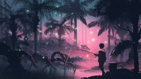 Boy fishing on the swamp in tropical forest 写真素材