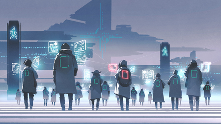 Futuristic concept showing crowd of people walking on city street 写真素材