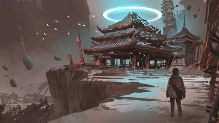night scenery showing a man looking at the lost temple, digital art style, illustration painting