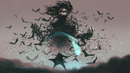 scène de combat de l'homme avec le personnel du sorcier magique et le diable des corbeaux, style art numérique, peinture d'illustration Banque d'images