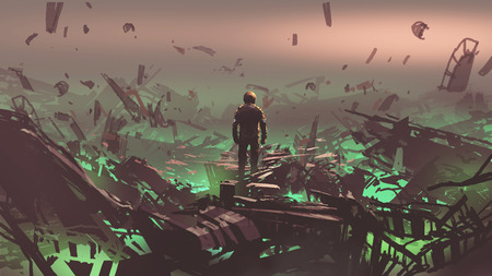 Astronaut looking at space junkyard on alien planet, digital art style, illustration painting Stok Fotoğraf