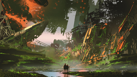 Scenery of hikers trekking a river path in overgrown city, digital art style, illustration painting