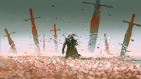 Death knight standing alone in the rose field with big broken swords stuck into the ground, digital art style