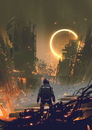 Astronaut standing in a burnt city and looking at a yellow glowing ring in the dark sky