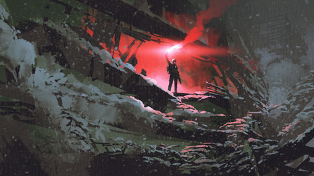 Apocalypse world concept showing the man holding a red smoke flare in the destroyed building