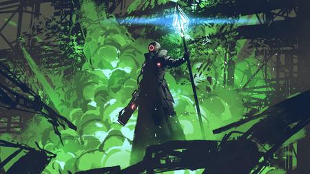Sci-fi karakter in zwarte mantel met lichte speer staande tegen groene explosie Stockfoto