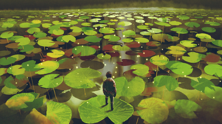 Young man on giant lily pad leaf in fantasy swamp, digital art style 스톡 콘텐츠
