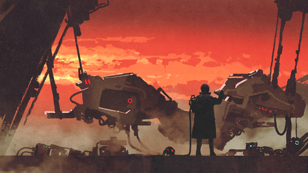 Man repairing a futuristic vehicle in factory at sunset