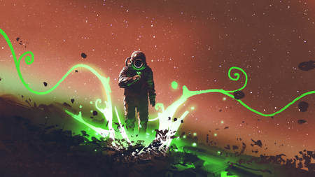 Spaceman looking at mysterious plants with green light