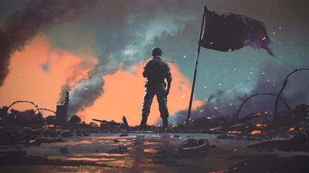 Soldado de pie solo después de la guerra en el campo de batalla