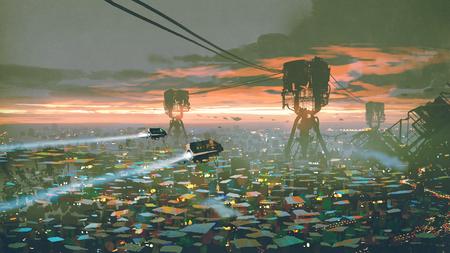 Cityscape of slum city in futuristic world, digital art style, illustration painting Stock Photo