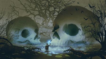 Un uomo con una torcia magica che cammina nella palude stregata, stile arte digitale, pittura illustrativa Archivio Fotografico