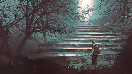 A man climbing stone stairs in the mysterious forest, digital art style, illustration painting Stock Photo