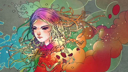 Portrait of the beautiful girl in colorful smoke with anime style, illustration painting Stock Photo
