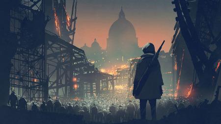 Hombre joven con pistola mirando a multitud de personas en la ciudad apocalíptica, estilo de arte digital