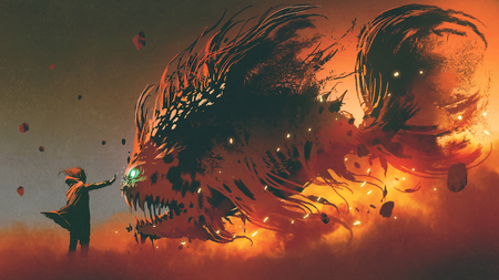 Wizard summoning giant fish creature with fire magic, digital art style 스톡 콘텐츠