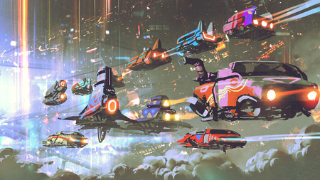 Flying car traffic in the futuristic world, digital art style