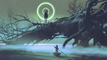 Dark-fantasy scene of the boy on a boat looking at the mysterious man with one eye on a fallen tree in river at night, digital art style, illustration painting