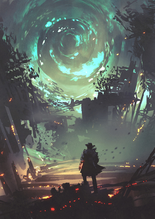 Hombre con brazo futurista mirando el viento en espiral brillante sobre la ciudad en ruinas