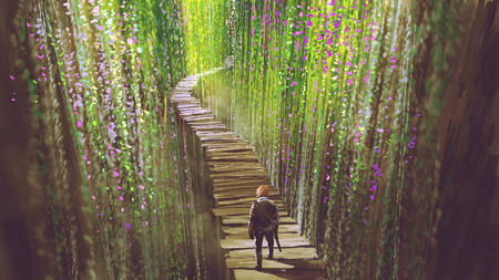 5th. knight walking on wooden bridge that surrounded by green vines and flowers, digital art style, illustration painting