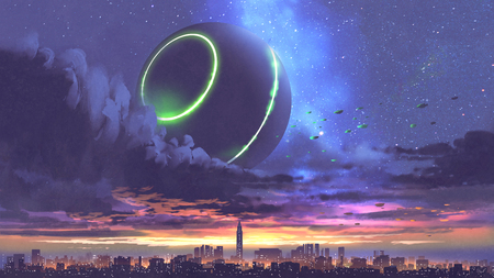 5th. unidentified flying object coming out of black clouds above the city with skyscrapers, digital art style, illustration painting