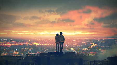 Young couple standing on the roof top looking at cityscape at sunset, digital art style, illustration painting Standard-Bild - 121627819